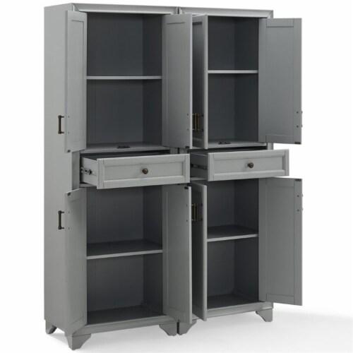 Crosley Tara 4 Door Pantry Set in Distressed Gray (Set of 2) Perspective: left
