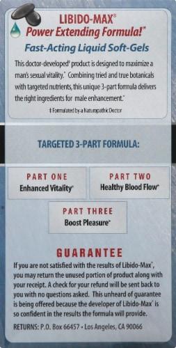 Libido-Max Male Enhancement Dietary Supplement Liquid Soft-Gels Perspective: left