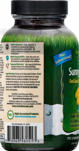 Irwin Naturals Sunny Mood Liquid Softgels Perspective: left