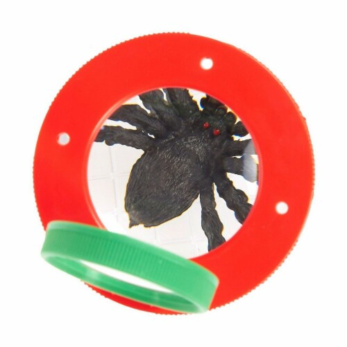 Plastic Transparent Bug Viewer Jar for Kids, with 3X Magnifying Lens,  Red and Green Perspective: left