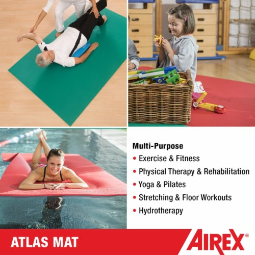 Airex Atlas Closed Cell Foam Fitness Mat for Yoga, Pilates, and Gym Use, Red Perspective: left