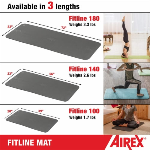Airex Fitline 140 Closed Cell Foam Fitness Mat for Gym Use, Yoga & Pilates, Pink Perspective: left