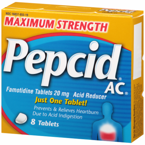 Pepcid AC Maximum Strength Acid Reducer Tablets 20 mg Perspective: left