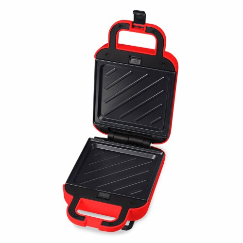 Elite Gourmet 3-In-1 Waffle Sandwich and Contact Grill - Red Perspective: left