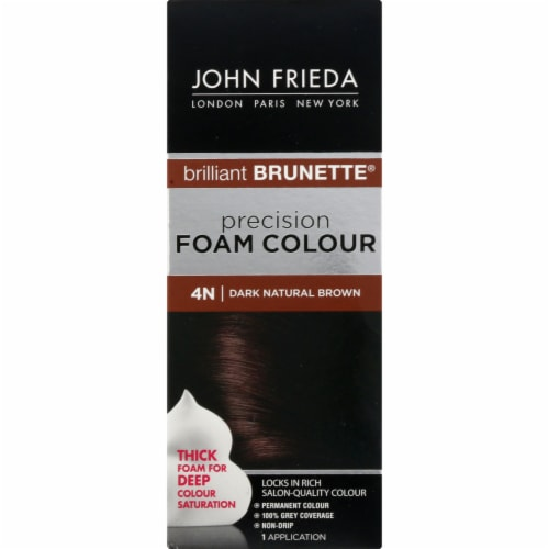 John Frieda Brilliant Brunette 4N Dark Natural Brown Precision Foam Hair Color Perspective: left