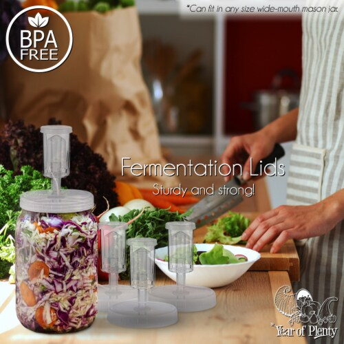Clear Fermentation Lids | 4-Pack | for Making Sauerkraut in Wide Mouth Mason Jars Perspective: left