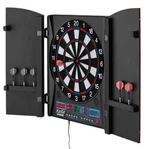Fat Cat Electronx 13.5 Inch Electronic Soft Tip Classic Dartboard Game Cabinet Perspective: left