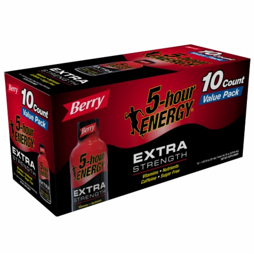 5-Hour Energy Shot Extra Strength Berry Flavor Energy Drink Perspective: left