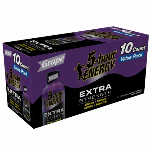 5-Hour Energy Extra Strength Grape Energy Shots Perspective: left