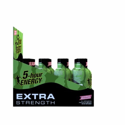 5-Hour Energy Extra Strength Strawberry Watermelon Supplements Perspective: left
