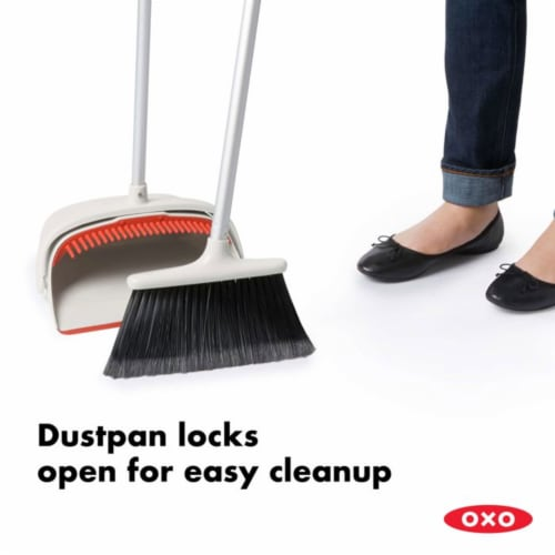 OXO Large Extendable Broom and Dustpan 2 Piece Upright Cleaning Sweeper Set Perspective: left