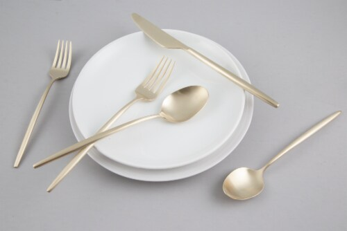 Cambridge Silversmiths Gaze Flatware Set - Champagne Satin Perspective: left