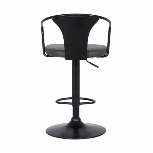 Armen Living Eagle 32 H Faux Leather Adjustable Bar Stool in Black and Gray Perspective: left