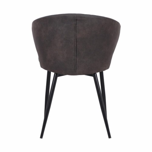 Armen Living Ava Faux Leather Dining Arm Chair in Gray and Black Perspective: left