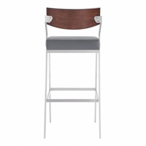 30  Barstool in Brushed Stainless Steel with Grey Faux Leather and Walnut Wood Finish Back Perspective: left