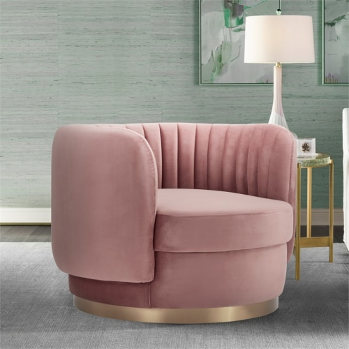 Davy Blush Velvet Swivel Accent Chair with Gold Base Perspective: left