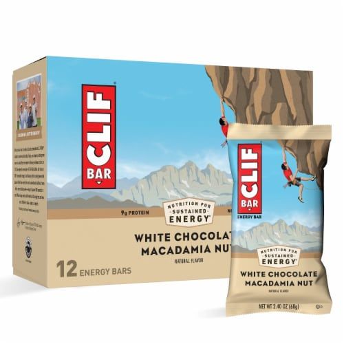 Clif Bar White Chocolate Macadamia Nut Energy Bars Perspective: left