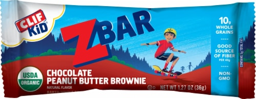 Clif Kid Zbar Chocolate Peanut Butter Brownie Energy Snack Bars Perspective: left