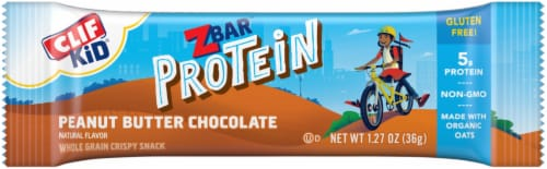 Clif Z Bar Kid Protein Peanut Butter Chocolate Whole Grain Crispy Snack Bars Perspective: left
