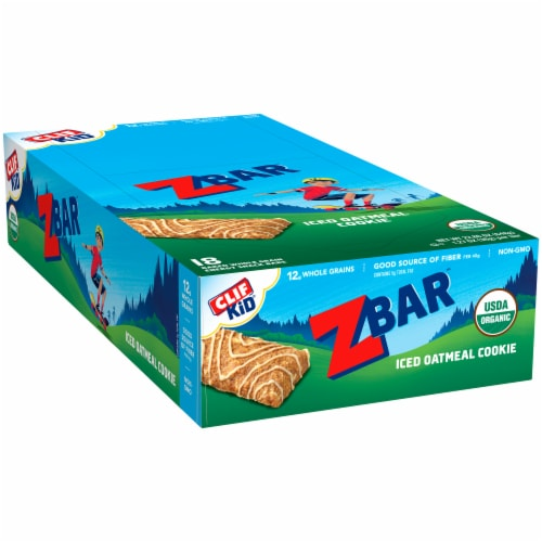 Clif Kid Z Bar Iced Oatmeal Cookie Baked Whole Grain Energy Snack Bars Perspective: left