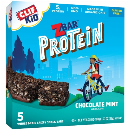 Clif Kid ZBar Protein Chocolate Mint Whole Grain Crispy Snack Bars Perspective: left