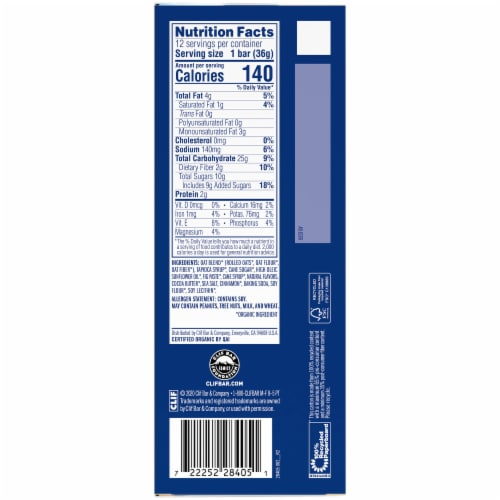 Clif Kid Z Bar Cinnamon Roll Energy Snack Bars Perspective: left