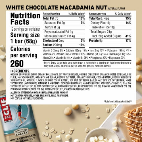 Clif Bar White Chocolate Macadamia Nut Energy Bars Perspective: left