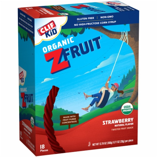 Clif Kid Organic ZFruit Strawberry Twisted Fruit Snack 18 Count Perspective: left