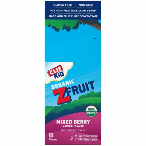 Clif Kid Organic ZFruit Mixed Berry Twisted Fruit Snacks Perspective: left