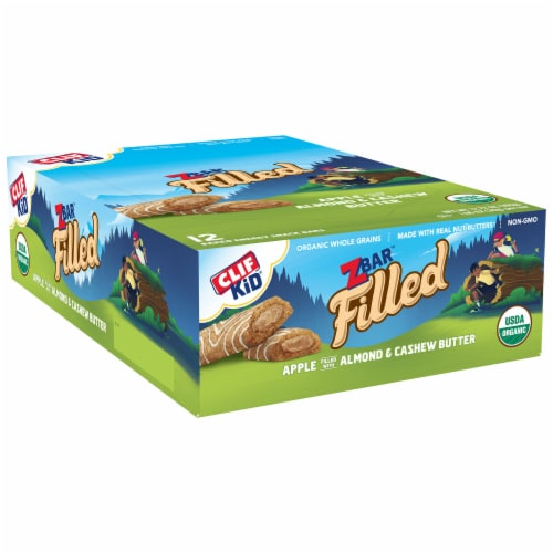 Clif Kid Zbar Filled Apple Filled with Almond & Cashew Butter Baked Energy Snack Bars Perspective: left