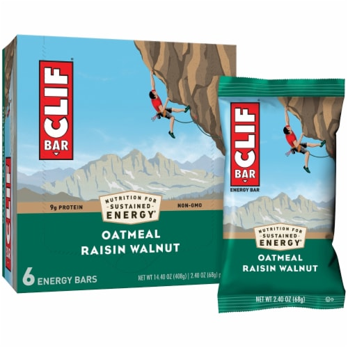 Clif Bar Oatmeal Raisin Walnut Energy Bars Perspective: left