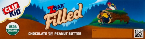 Clif Kid Organic Zbar Filled Chocolate Filled with Peanut Butter Baked Energy Snack Bars Perspective: left