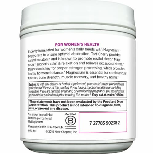 New Chapter Women's Natural Lemon Raspberry Flavor Magnesium Powder Perspective: left