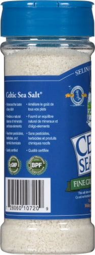 Celtic Fine Ground Sea Salt Shaker Perspective: left