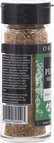 Selina Naturally  Organic All Purpose Seasoning with a Hint of Celtic Sea Salt Perspective: left
