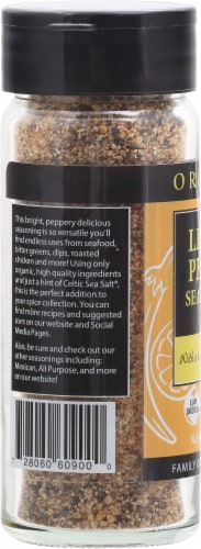 Selina Naturally  Organic Lemon Pepper Seasoning with a Hint of Celtic Sea Salt Perspective: left