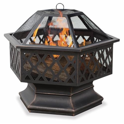 Fire Island Lattice Design Wood Burning Outdoor Fire Pit Perspective: left