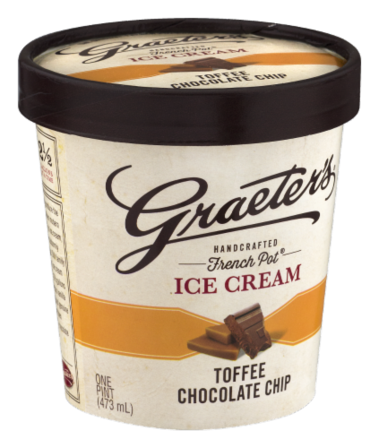 Graeter's Toffee Chocolate Chip Ice Cream Perspective: left
