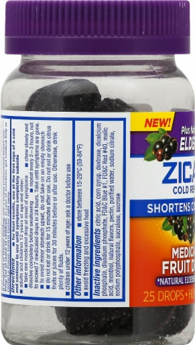Zicam Elderberry Cold Remedy Medicated Fruit Drops Perspective: left