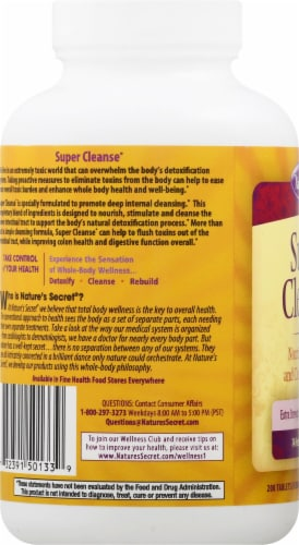 Nature's Secret Super Cleanse Dietary Supplement Tablets Perspective: left