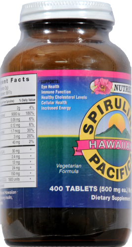 Nutrex Hawaiian Spirulina Vitamin Tablets 500mg Perspective: left