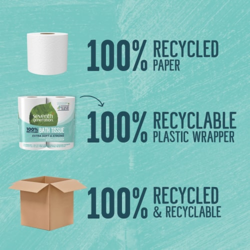 Seventh Generation 100% Recycled Paper Extra Soft & Strong Bath Tissue Perspective: left