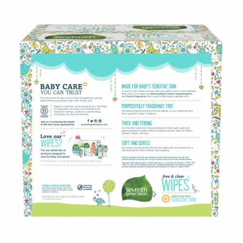 Seventh Generation  Free & Clear Baby Wipes Fragrance Free Perspective: left