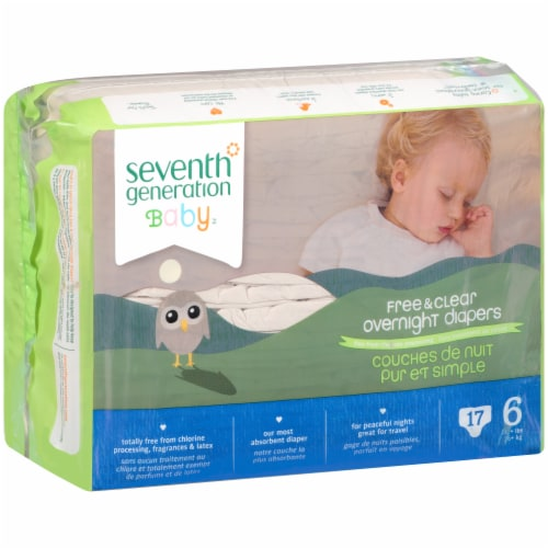 Seventh Generation Free & Clear Size 6 Overnight Diapers Perspective: left