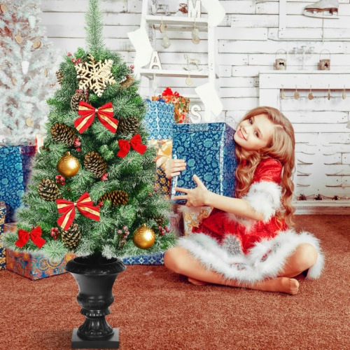 Costway 4 ft Christmas Entrance Tree with Pine Cones Red Berries and Glitter Branches Perspective: left