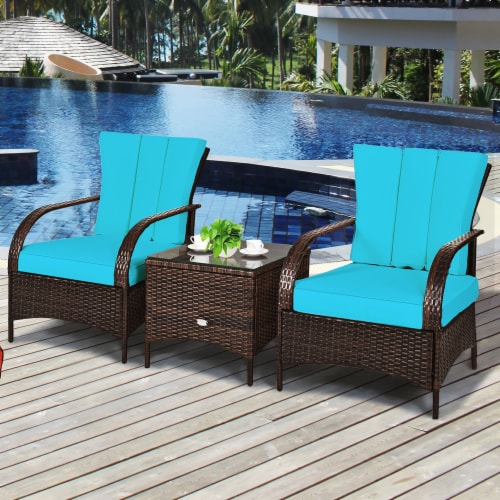 Costway 3 PCS Patio Wicker Rattan Furniture Set Coffee Table & 2 Rattan Chair W/Cushions-Turq Perspective: left
