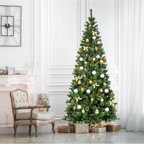 Costway 8 ft Premium Hinged Artificial Christmas Tree Mixed Pine Needles w/ Pine Cones Perspective: left