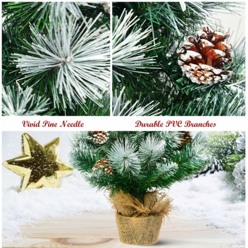 Costway 24'' Snow Flocked Artificial Christmas Tree Tabletop w/Pine Cones and Burlap Base Perspective: left
