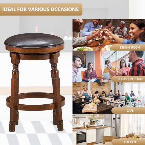 Costway Set of 2 24'' Swivel Bar Stool Leather Padded Dining Kitchen Pub Chair Backless Perspective: left