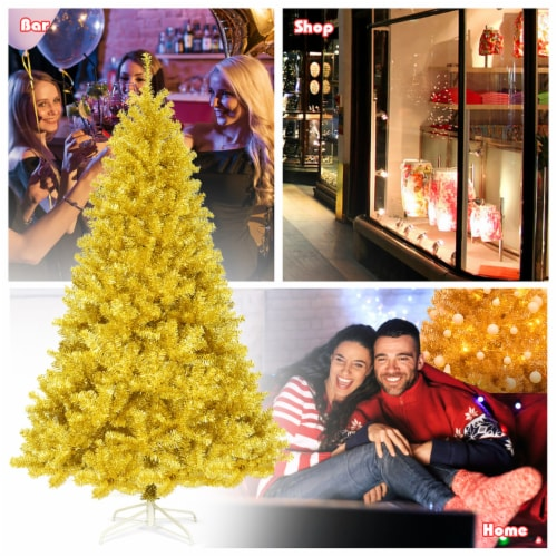Costway 7.5ft Artificial Tinsel Christmas Tree w/1258 Tips Foldable Stand Champagne Gold Perspective: left